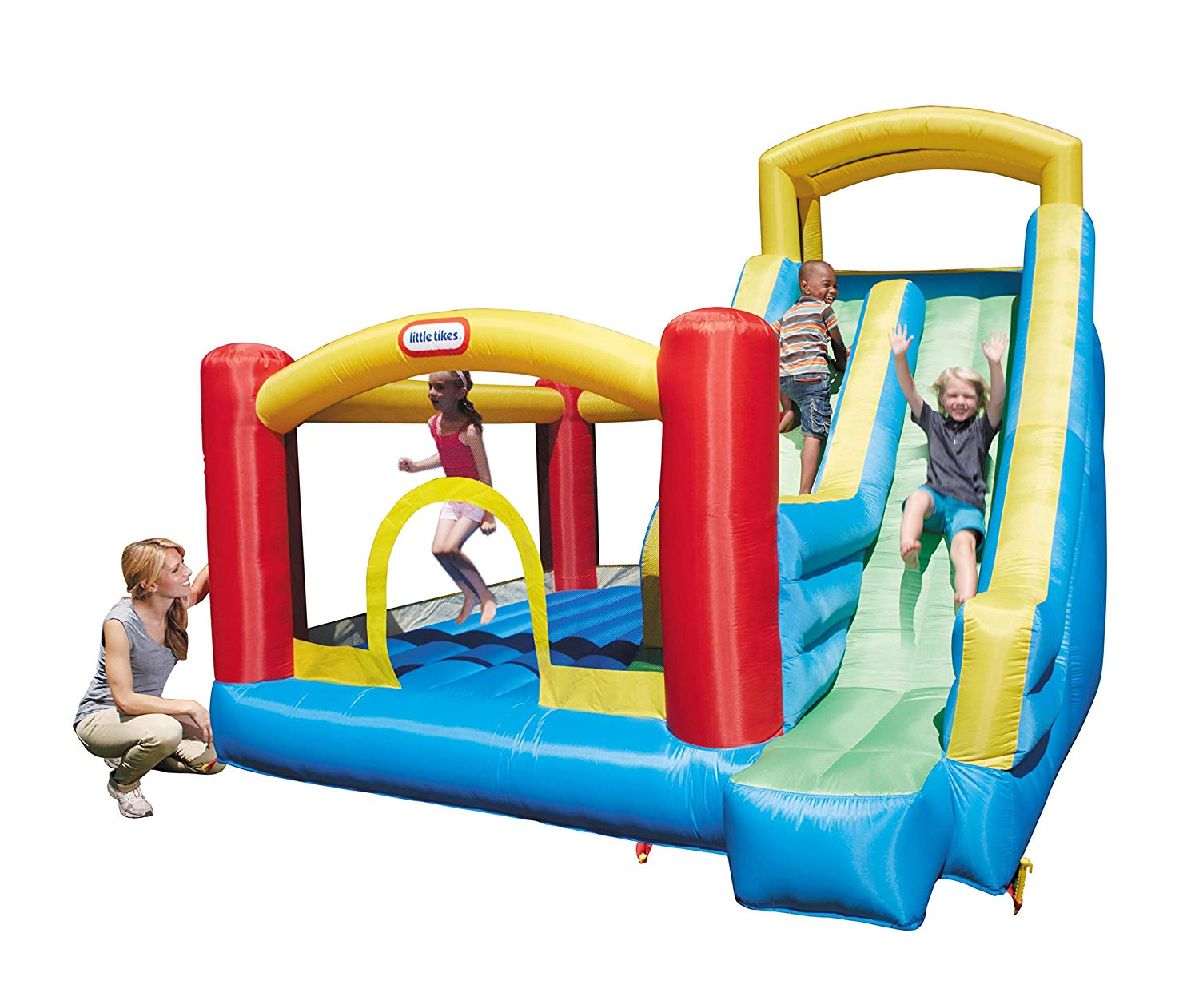 This Little Tikes Giant Bouncer has it all!! Kids will keep active as the climb, slide and bounce with this fun inflatable bouncer in the backyard!